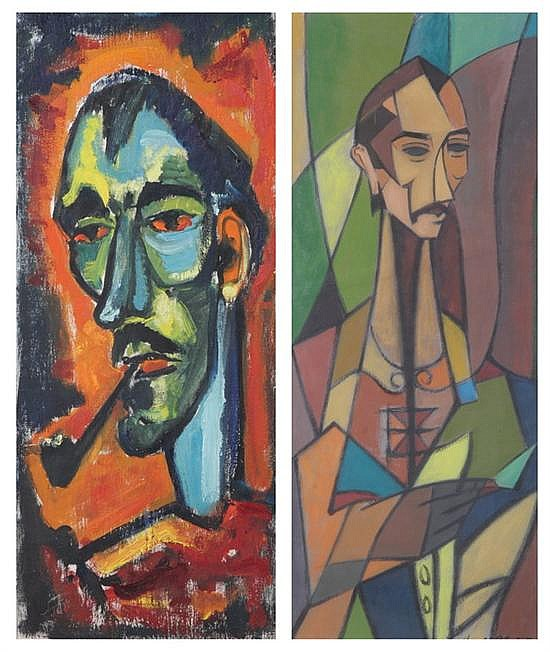 HAROLD BLACK (American, b. 1913). SELF PORTRAIT, and SELF PORTRAIT WITH PIPE: TWO WORKS, first signed and dated '52 lower right with l