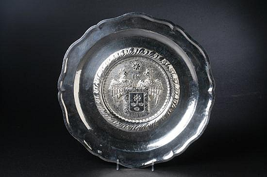 PERUVIAN STERLING SILVER CHARGER, Plata Esterlina 925 Kohler Peru Amano. - 27 oz., 8 dwt.; 14 1/2 in. diam.