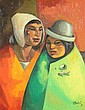 J.A. MORALES (Spanish School, 20th century). TWO PERUVIAN WOMEN, signed and dated '73 lower right. Oil on canvas.