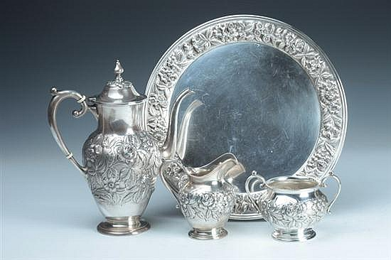 FOUR-PIECE S. KIRK & SON STERLING SILVER COFFEE SERVICE, 1925-1932 mark. - 58 oz., 8 dwt.; 10 in. high, coffee pot, 12 in. diam., platt