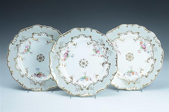 EIGHT COALPORT PORCELAIN PLATES, late 19th century. - 9 in. diam.