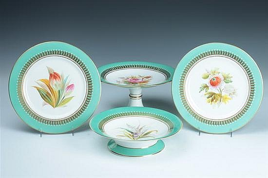 15-PIECE ENGLISH PORCELAIN DESSERT SERVICE, 19th century. - 9 1/4 in. diam., plates.