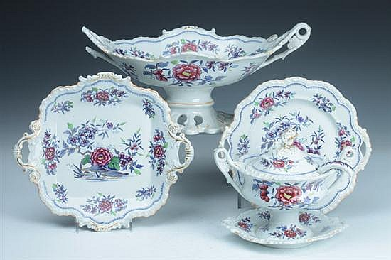 16-PIECE STAFFORDSHIRE STONE CHINA SERVICE, John & William Ridgway, 1814-c.1830. - 8 3/4 in. diam., plates.