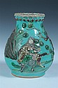 CHINESE FAMILLE VERTE PORCELAIN VASE, Chenghua four character mark. - 9 1/4 in. high.
