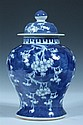 CHINESE BLUE AND WHITE PORCELAIN BALUSTER JAR AND COVER, 19th century. - 12 in. high.