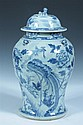 CHINESE BLUE AND WHITE PORCELAIN BALUSTER VASE AND COVER, 19th century. - 18 in. high.