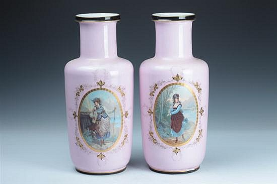 PAIR PARIS PORCELAIN VASES, last quarter 19th century. - 16 1/4 in. high.