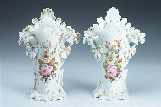 PAIR PARIS PORCELAIN VASES, 19th century. - 11 3/4 in. high.