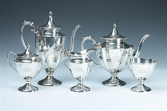 FIVE-PIECE STERLING SILVER TEA AND COFFEE SERVICE. - 73 oz., 4 dwt.; 11 in. high, coffee pot.