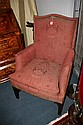CHIPPENDALE STYLE MAHOGANY UPHOLSTERED ARM CHAIR, early 20th century. - 41 1/2 in. x 28 in. x 20 in.