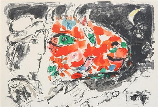 MARC CHAGALL (French, 1887-1985). APRES L''HIVER, doublesided book page. Color lithograph.
