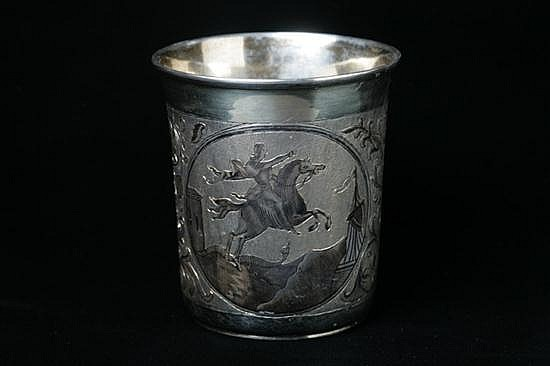 RUSSIAN SILVER GILT AND NIELLO CUP. Moscow, AK assay mark, partial maker's mark; 84 silver standard. - 6 oz; 3 1/2 in. high.