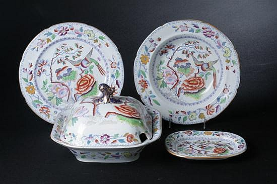 ELEVEN PIECES MASON'S PATENT IRONSTONE CHINA, Circa 1845. - 9 3/4 in. diam., dinner plate.