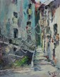 MESTRE EDUARDO ROSA MENDES (Portuguese, b. 1906). NARROW STREETS OF OLD LISBON, signed lower right. Oil on board.