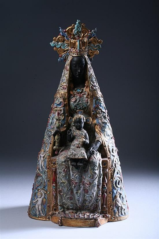 POLYCHROME GLAZED TERRACOTTA FIGURE OF A BLACK MADONNA AND CHILD BY PROF. EUGENIO PATTARINO, gilt signed Prof. E Pattarino, Italy L.36.
