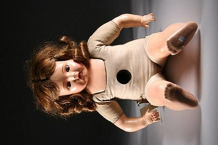 DOLLY-REKORD (OR GENUINE MADAME HENDREN) DOLL, Universal Talking Toys Co. - Doll; 26 3/4 in. tall; each cyclinder record: 2 3/16 in. di