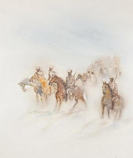 VICENTE CARNEIRO (Brazilian, 20th century). CAVALRY IN STORM, Signed lower right. Oil on canvas.