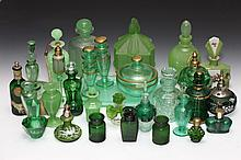 COLLECTION GREEN GLASS SCENT AND OTHER BOTTLES AND BOXES. - 6 1/2 in. high, tallest.