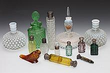 COLLECTION GLASS SCENT BOTTLES. - 7 in. high, tallest.