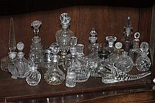 COLLECTION CUT AND MOLDED CLEAR GLASS SCENT AND OTHER BOTTLES. - 7 1/4 in. high, tallest.