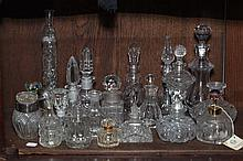 COLLECTION CUT AND MOLDED CLEAR GLASS SCENT AND OTHER BOTTLES. - 9 1/4 in. high, tallest.