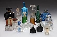 COLLECTION ART DECO AND OTHER GLASS SCENT BOTTLES. - 7 1/2 in. high, tallest.