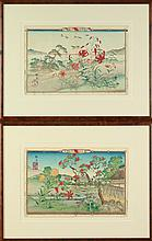 JAPANESE SCHOOL (Japanese, 20th Century). RIVERSCAPE LANDSCAPE, Two ink and color on paper. Signed, sealed and framed.