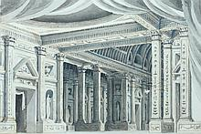 CONTINENTAL SCHOOL (19th/20th century). ARCHITECTURAL INTERIOR, watercolor.