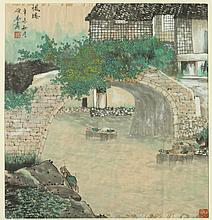 CHINESE SCHOOL (Chinese, 20th Century). RIVERSCAPE, Ink and color on paper. Signed, sealed and framed.