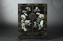 CHINESE BLACK LACQUERED SOAPSTONE INLAID CABINET. - 29 3/4 in. x 23 in. x 11 in.