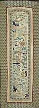 FIVE CHINESE EMBROIDERED SILK PANELS. - Largest: 24 3/8 in. x 9 in.