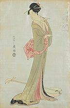 JAPANESE SCHOOL (20th Century). GEISHA, Woodblock print. Signed, sealed and framed.