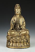 CHINESE GILT BRONZE FIGURE OF GUANYIN. - 17 in. high.