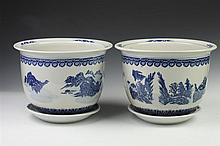 PAIR CHINESE BLUE AND WHITE PORCELAIN CACHE POTS. - 8 1/2 in. high.