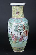 CHINESE FAMILLE ROSE PORCELAIN VASE. - 18 1/2 in. high.