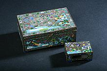 CHINESE SILVER ON COPPER ENAMELLED BOX, Marked
