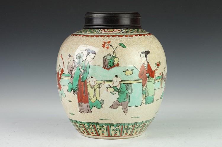 CHINESE FAMILLE VERTE PORCELAIN JAR, Marked