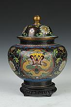 CHINESE CLOISONNÉ JAR AND COVER. - 9 1/4 in. high.