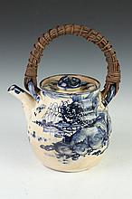 LARGE CHINESE BLUE AND WHITE PORCELAIN TEA POT, 19th Century. - 8 1/2 in. high.