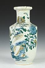 CHINESE FAMILLE VERTE CRACKLED GLAZED PORCELAIN ROULEAU VASE, 19th Century. - 13 1/2 in. high.