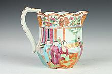 CHINESE ROSE MANDARIN PORCELAIN PITCHER, 19th Century. - 6 1/4 in. high.
