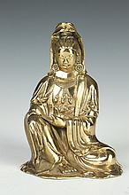CHINESE BRONZE DORÉ FIGURE OF GUANYIN. - 5 5/8 in. high.