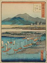 HIROSHIGE II (Japanese, 1826-1869). RIVERSCAPE, Color woodcut from the series