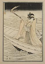 KITAGAWA UTAMARO (Japanese, 1750-1806). GEISHA, Color woodcut, signed, sealed and framed. Together with TORII KIYONAGA (Japanese, 1752-