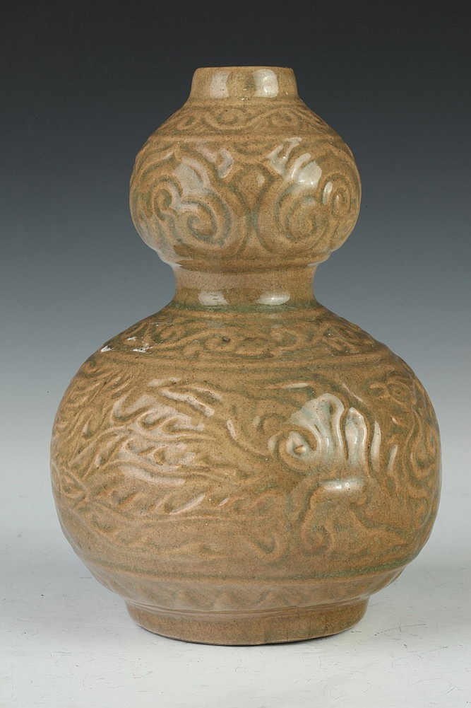 CHINESE CELADON PORCELAIN DOUBLE GOURD VASE. - 8 in. high.