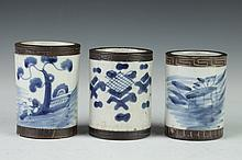 THREE CHINESE BLUE AND WHITE PORCELAIN TEA BOWLS, 19th Century. - 3 5/8 in. high.