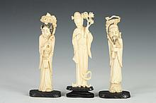TWO CHINESE IVORY FIGURES OF IMMORTALS AND A FIGURE OF A MEIREN. - Largest: 4 7/8 in. high.