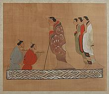 ANONYMOUS (Chinese, 20th Century). COURT SCENE, Ink and color on silk, framed.