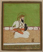ANONYMOUS (Indian, 19th/20th Century). MAN, Ink and color on paper, miniature, framed.