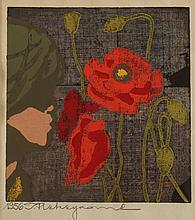 JAPANESE SCHOOL (20th Century). LOTUS, Color woodcut, signed, framed and dated 1956.